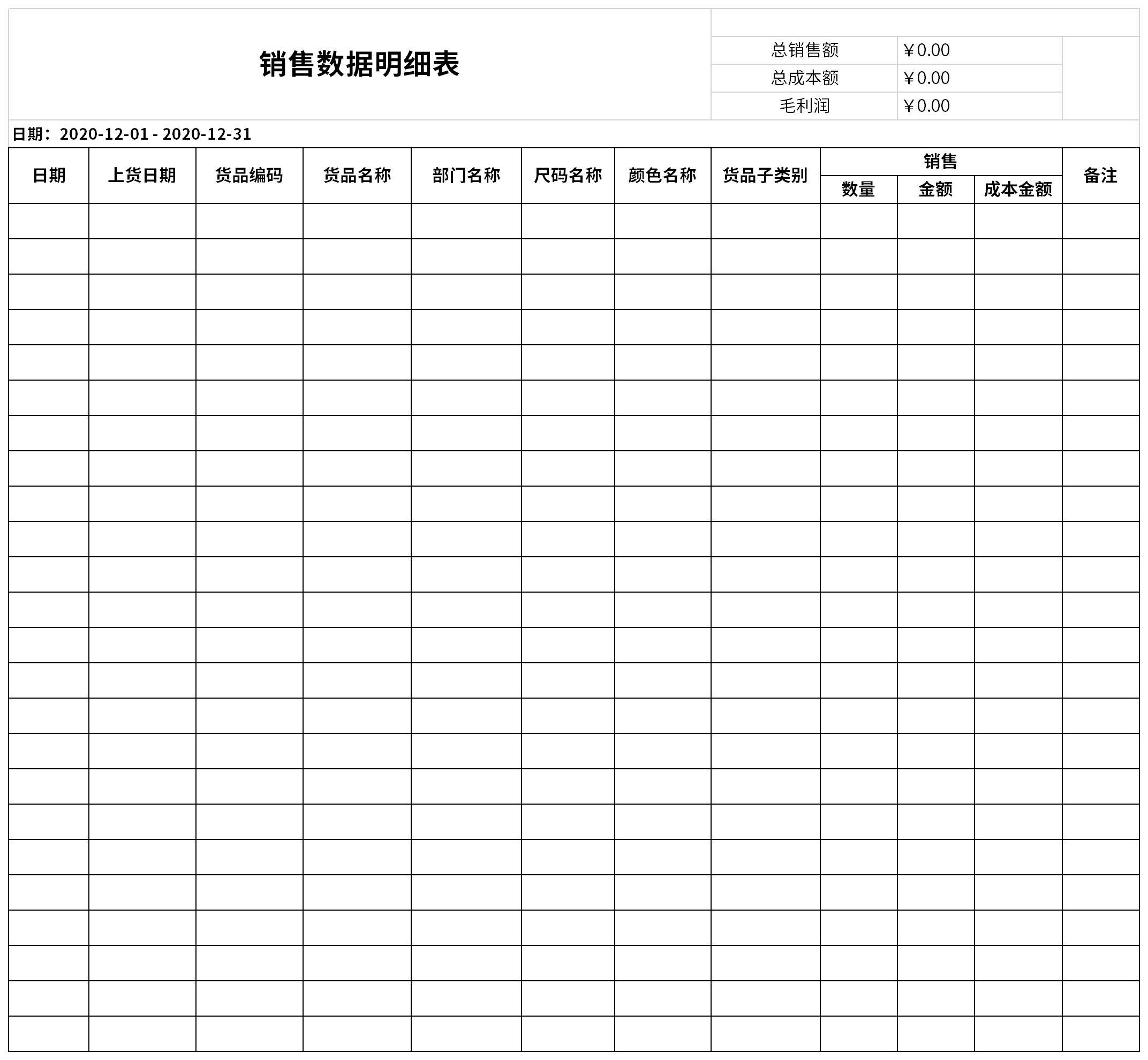 销售数据明细表截图