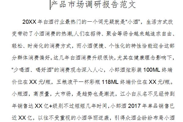 产品市场调研报告范文截图