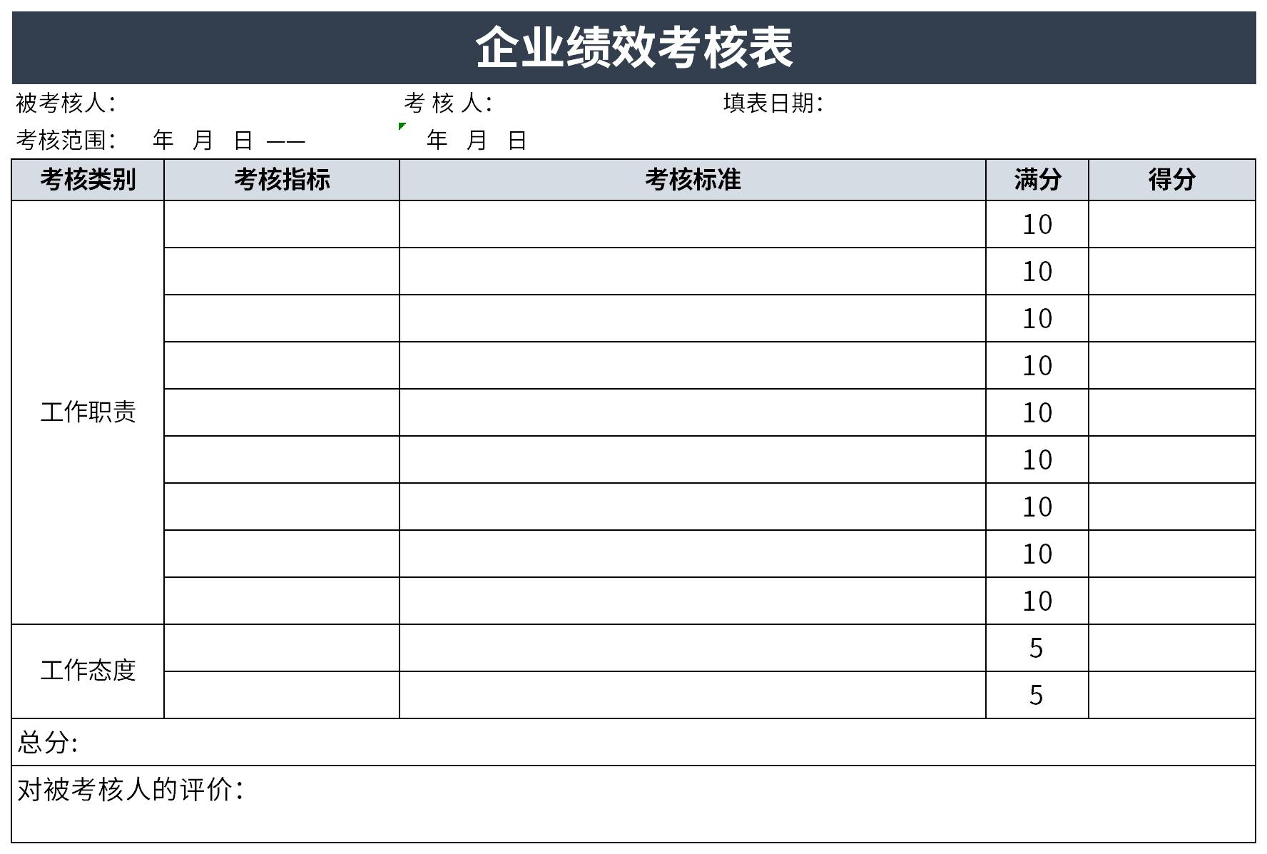 企业绩效考核表截图