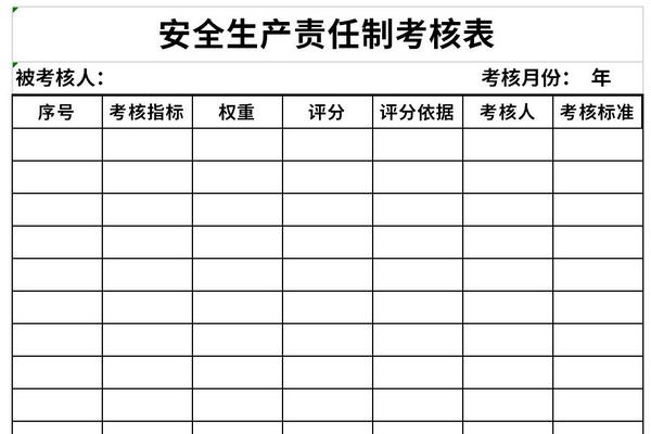 安全生产责任制考核表