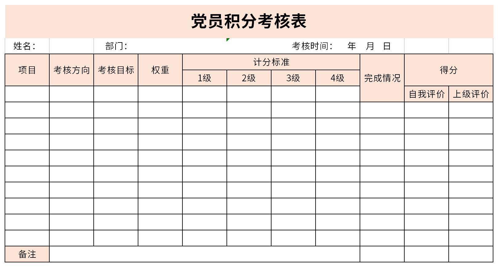 党员积分考核表截图