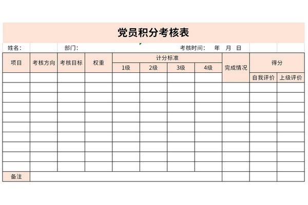 党员积分考核表截图1