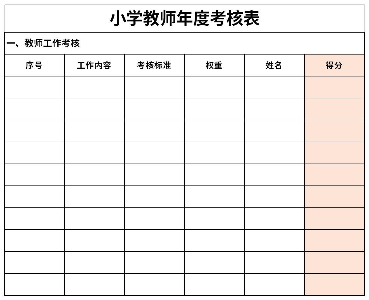 小学教师年度考核表截图