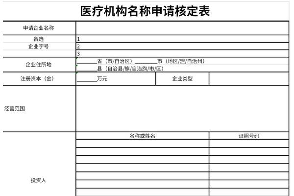 医疗机构名称申请核定表截图1