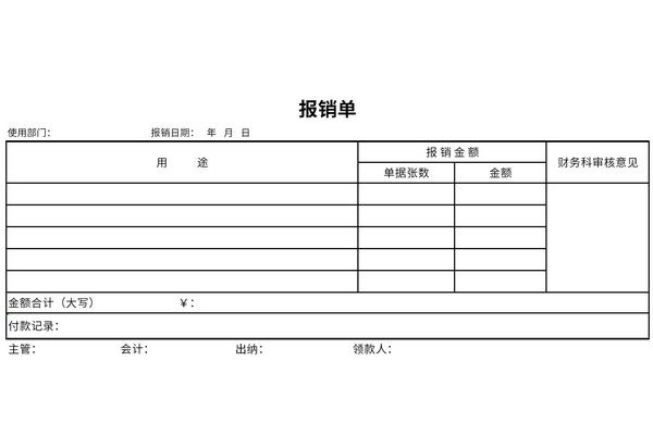 报销单格式模板截图1