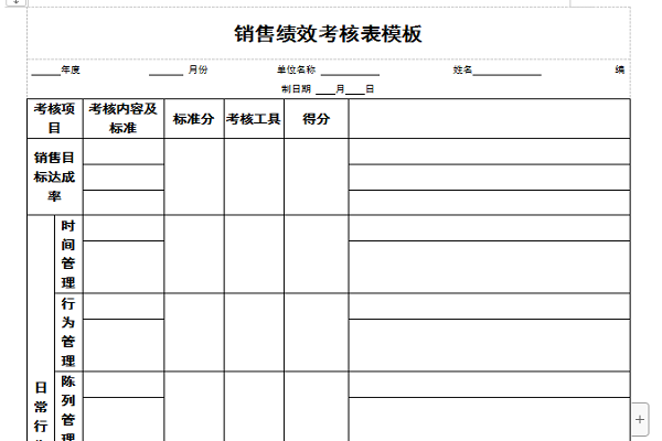 销售绩效考核表模板截图