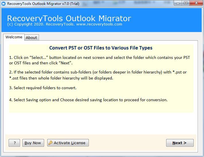 RecoveryTools Outlook Migrator截图1