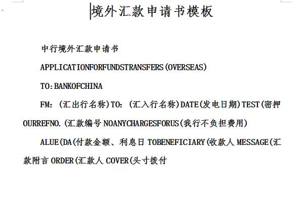 境外汇款申请书模板截图
