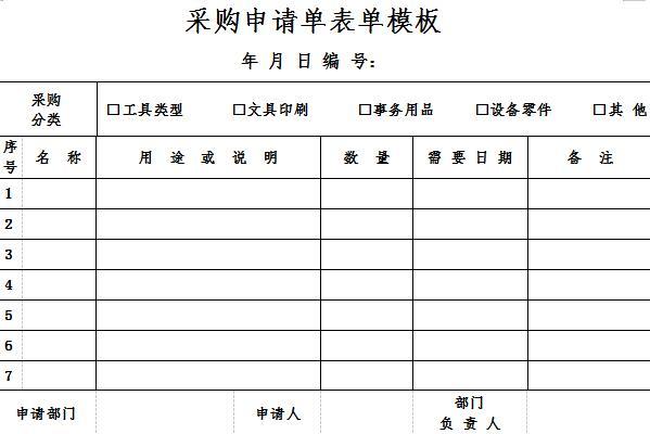 采购申请单表单模板截图