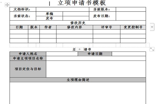 立项申请书模板截图
