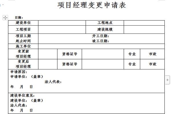 项目经理变更申请模板截图1