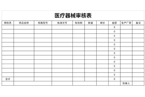 医疗器械审核表截图1