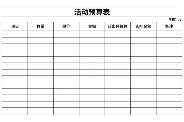 活动预算表截图1