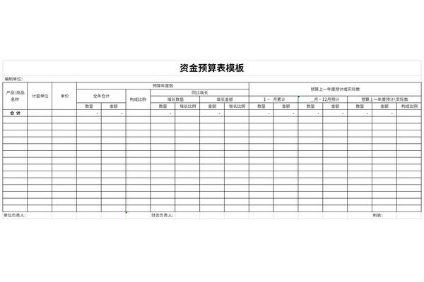资金预算表模板截图1