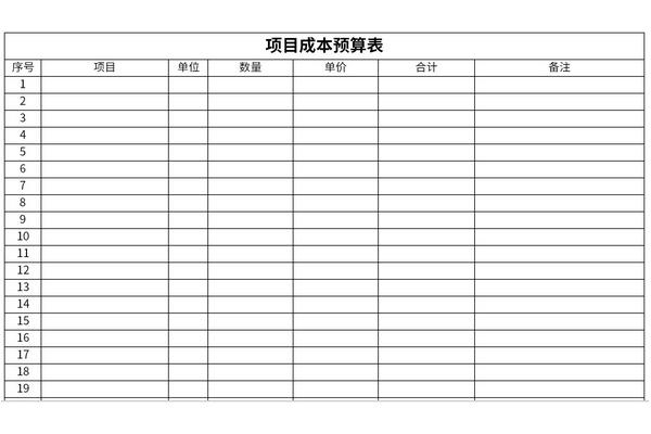 项目成本预算表截图1