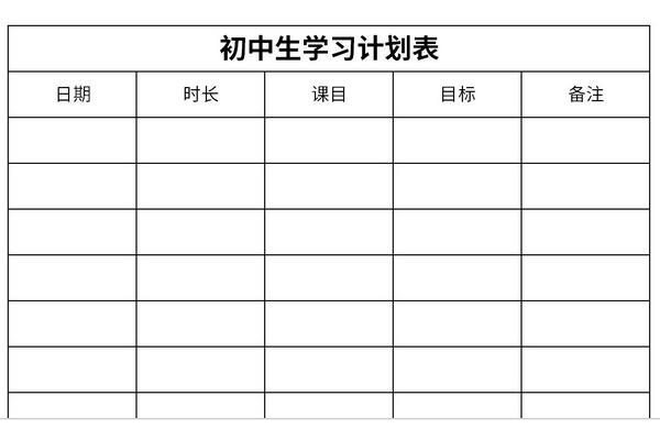 初中生学习计划表截图