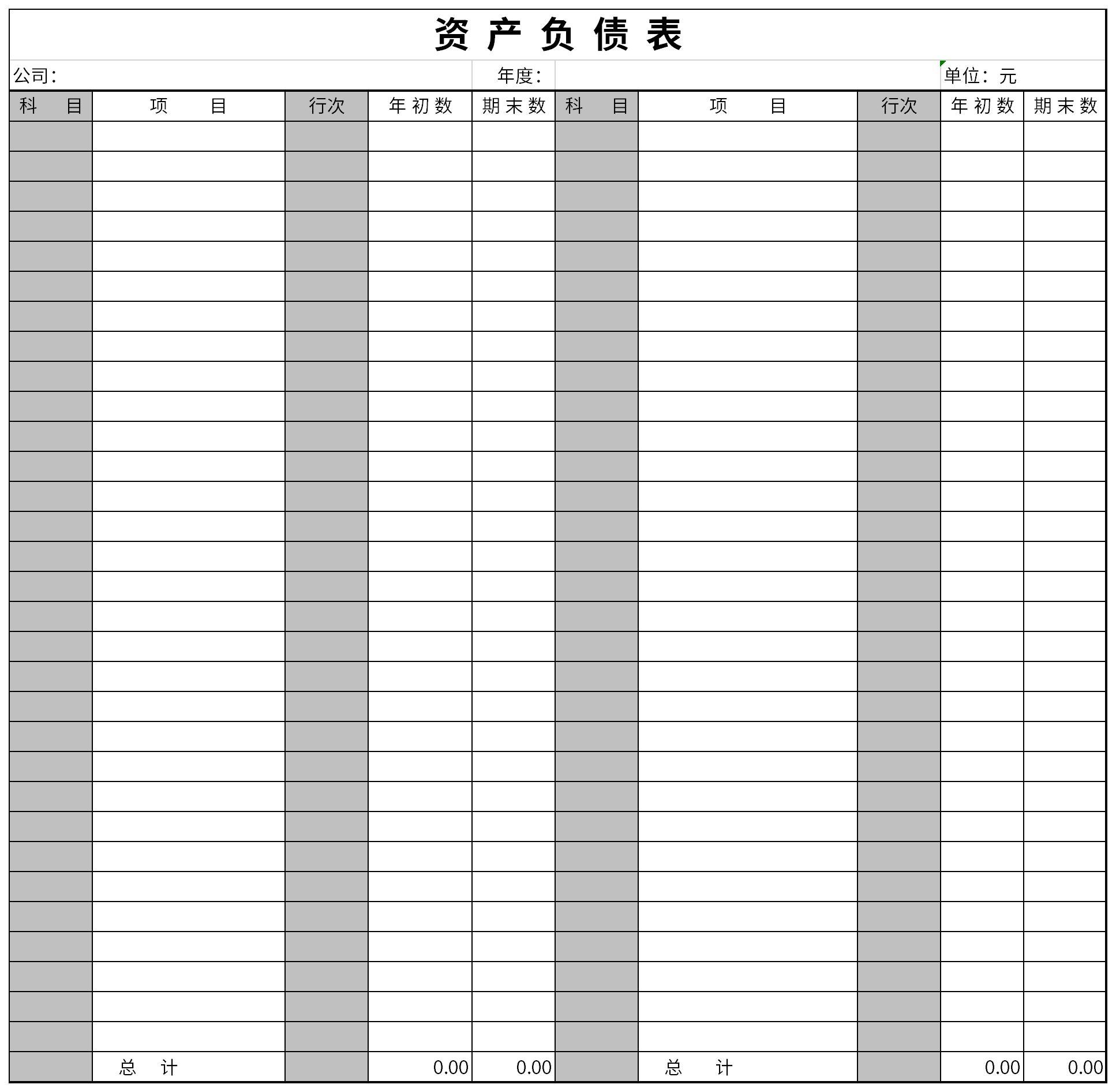 资产负债表下载模板截图