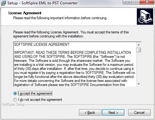 SoftSpire EML to PST Converter截图
