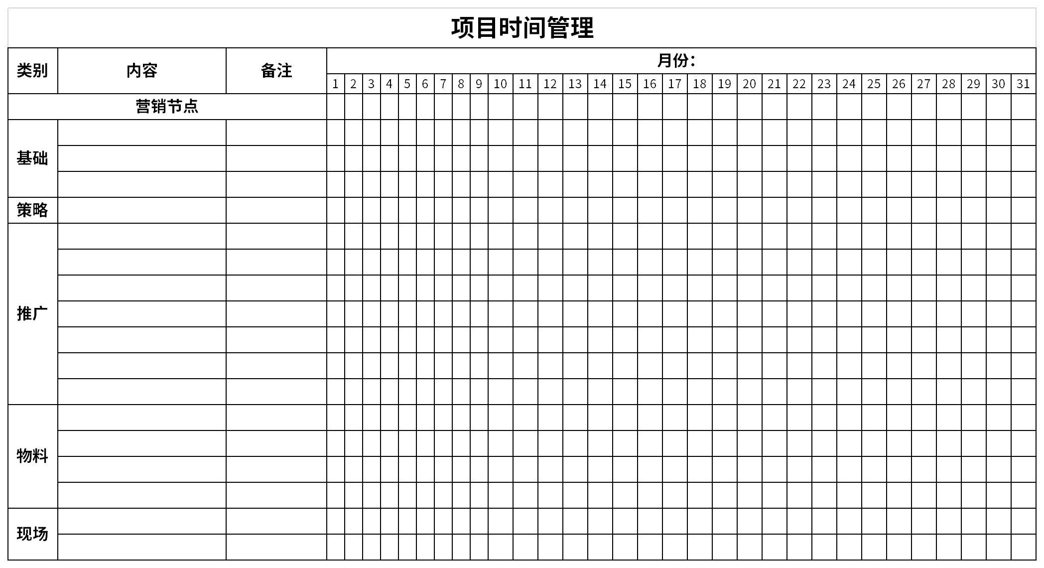 项目时间管理截图
