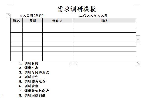 需求调研报告模板截图1