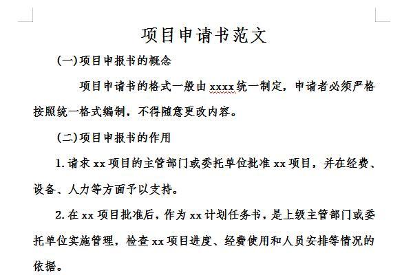 项目立项申请书范文截图