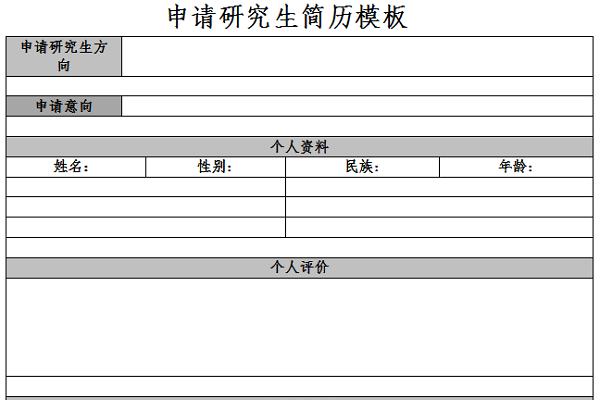 申请研究生简历模板截图1