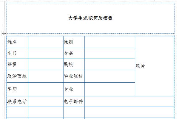 大学生简历表截图