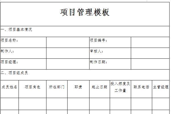 项目管理模板截图1