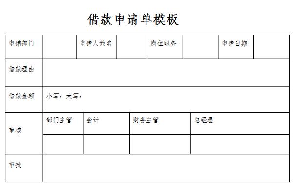 借款申请单模板截图