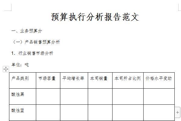 预算执行分析报告范文截图1