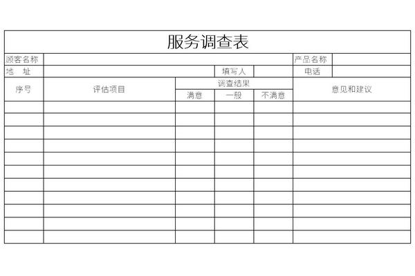服务满意度调查表模板截图1