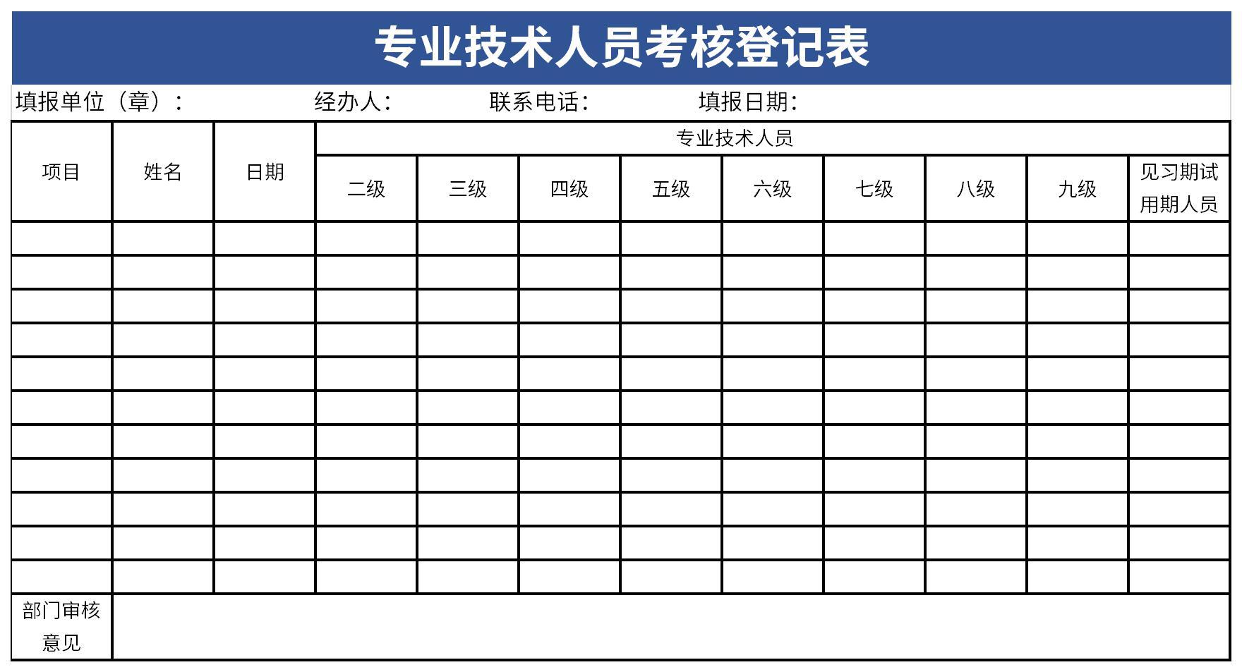 专业技术人员考核登记表截图