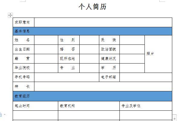 简历模板表格截图