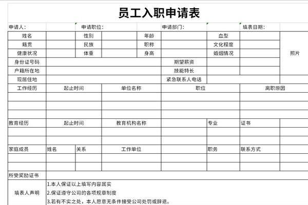2021新员工入职登记表