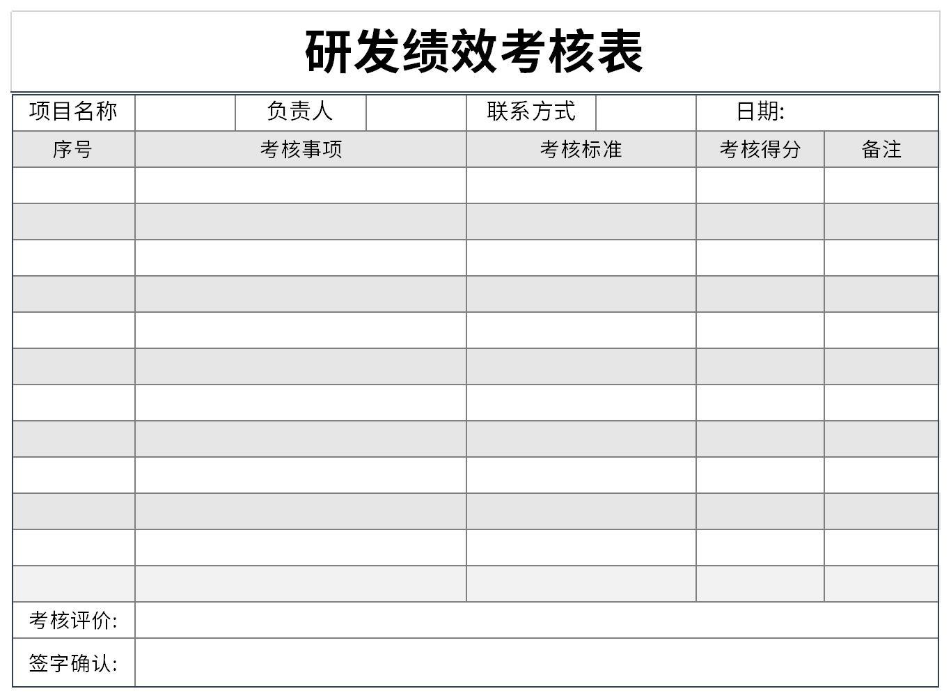 研发绩效考核表截图