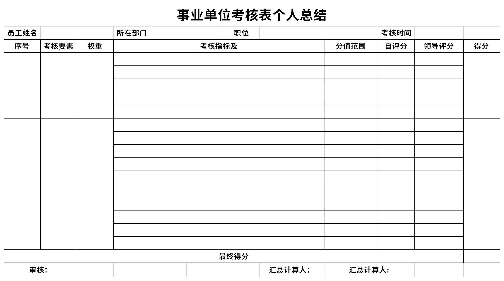 事业单位考核表个人总结截图
