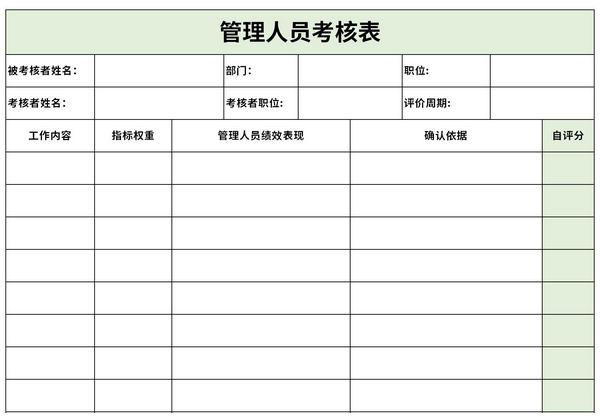 管理人员考核表截图1