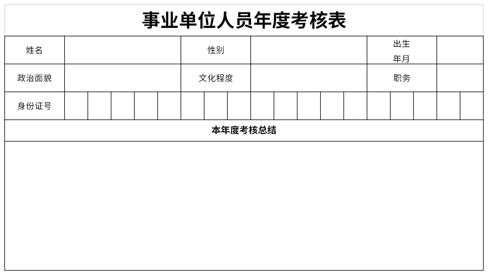 事业单位人员年度考核表截图
