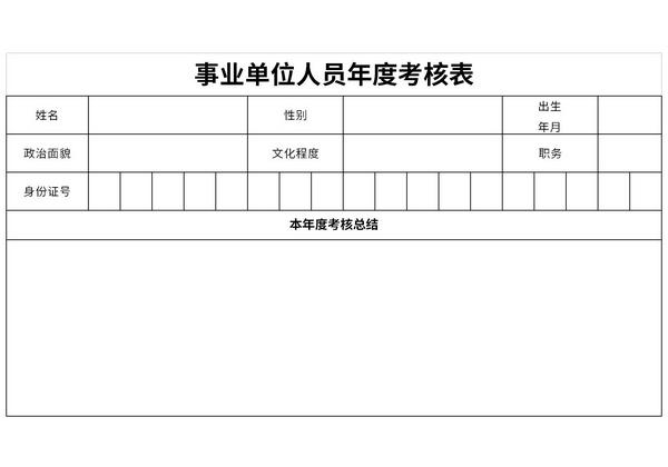事业单位人员年度考核表截图1