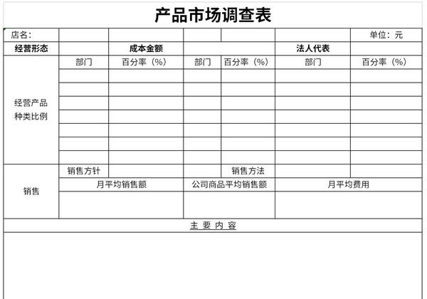 产品市场调查表截图1