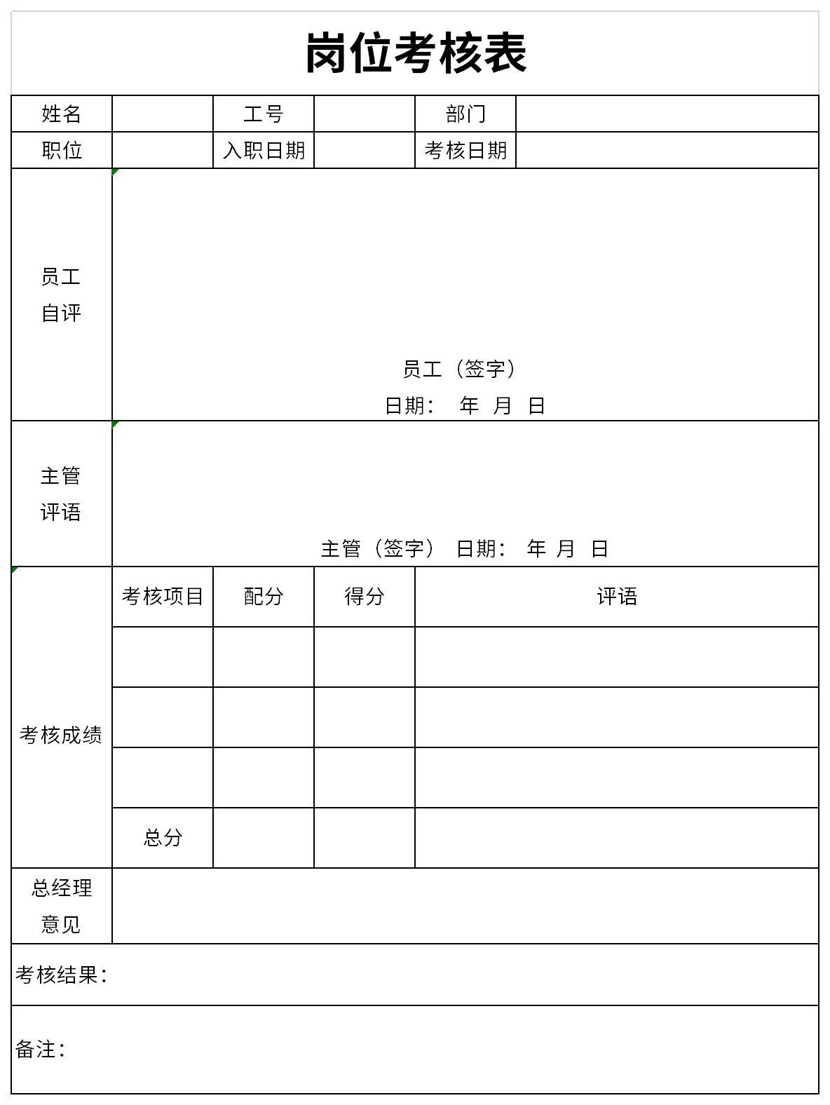 岗位考核表截图