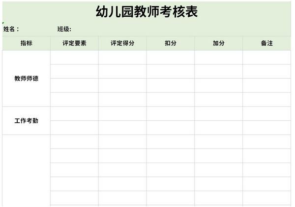 幼儿园教师考核表截图1