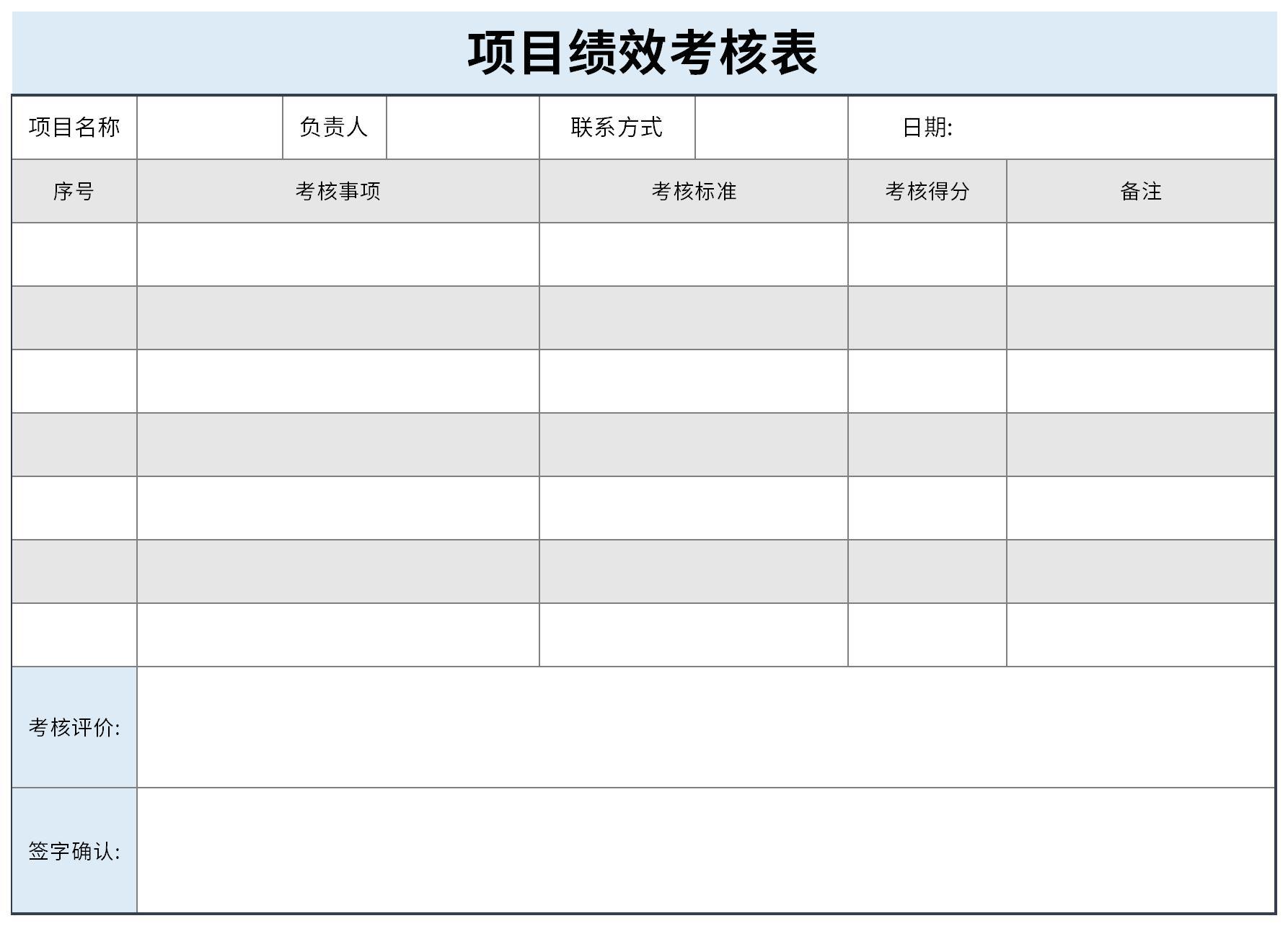 项目绩效考核表截图