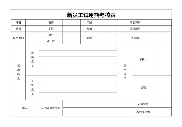 新员工试用期考核表截图1