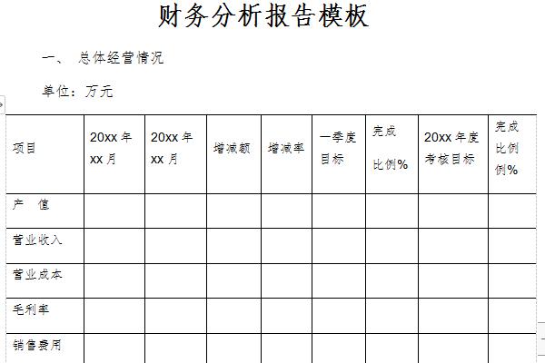 财务分析报告模板截图