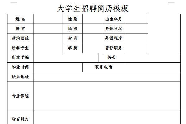 大学生招聘简历模板截图1