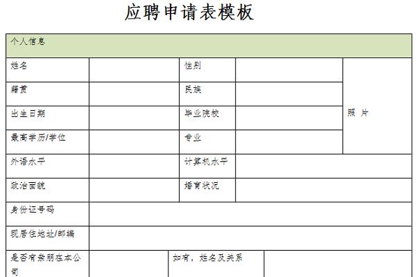 应聘申请表模板截图1