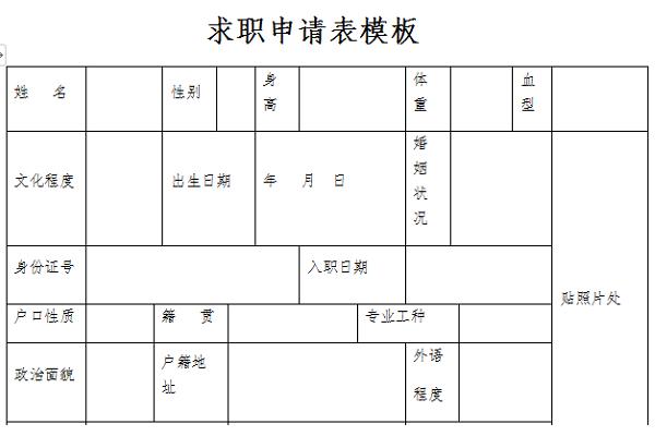 求职申请表模板截图