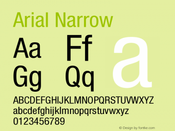 arial narrow字体