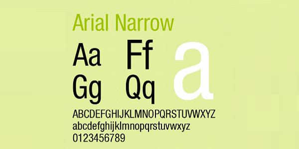 arial narrow字体截图